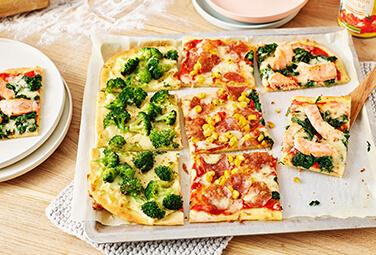 Farbenfrohe Familien-Pizza