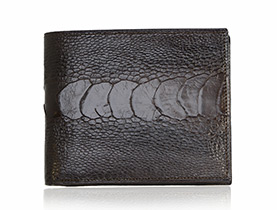 Straußenleder Portemonnaie Herren braun glänzend klein