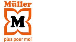 Logo standard avec Claim : MÜLLER – plus pour moi