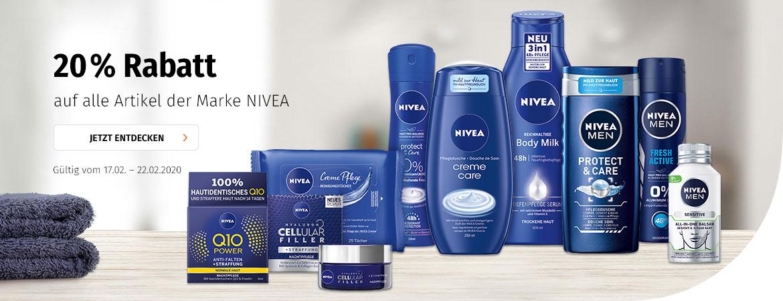 20% auf das gesamte Sortiment von Nivea