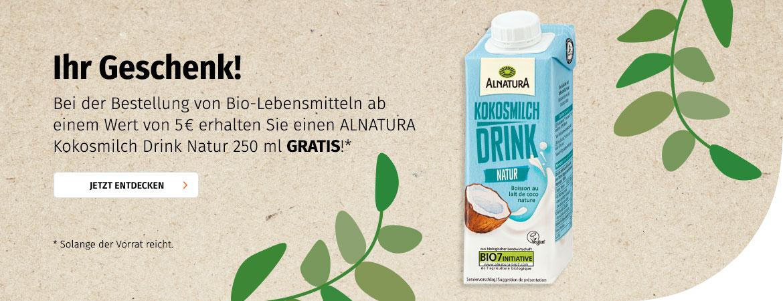 Alnatura Kokosmilch ab 5€ Einkaufswert GRATIS