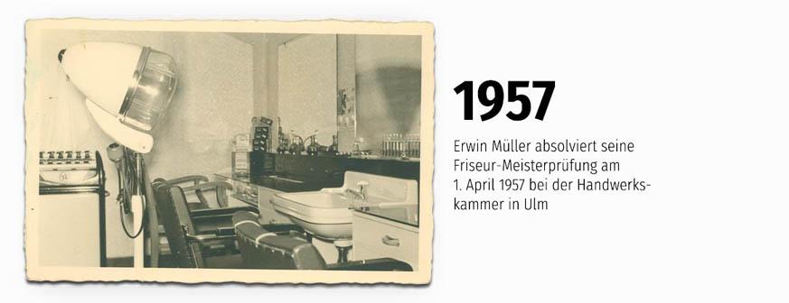 Friseur-Meister Prüfung absolviert am 1. April 1957