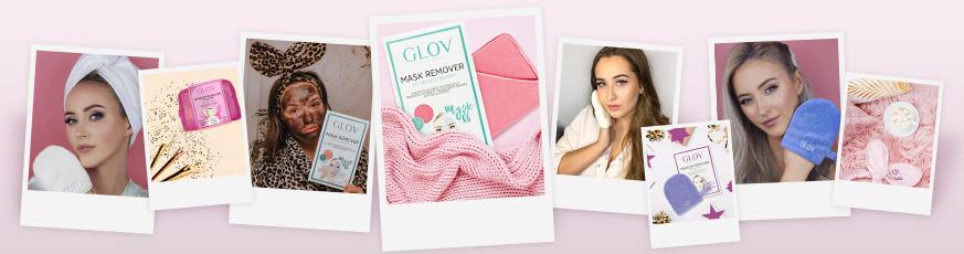 Polaroid Collage mit GLOV-Produkten zum Abschminken und in Anwendung bei jungen Frauen