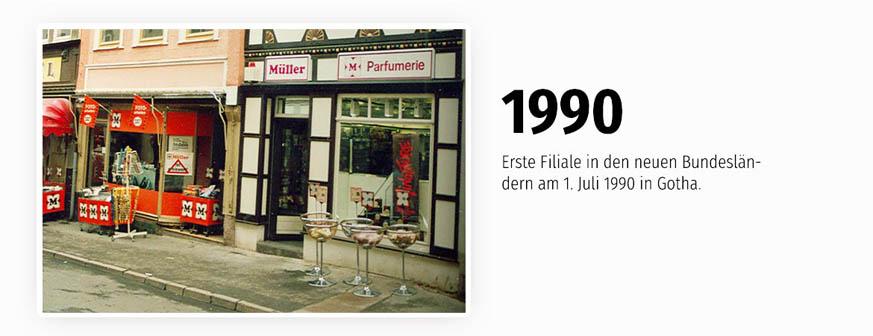 Eröffnung am 1. Juli 1990 der 1. Filiale in den neuen Bundesländern