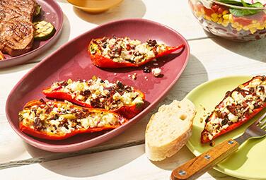 Gegrillte Paprika mit Feta und Oliven