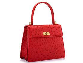 Straußenleder Handtasche rot matt
