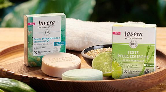 Feste Shampoos und Duschgele von lavera