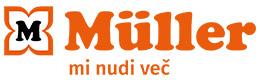 Logotip (podolgovat) s sloganom: MÜLLER – mi nudi več