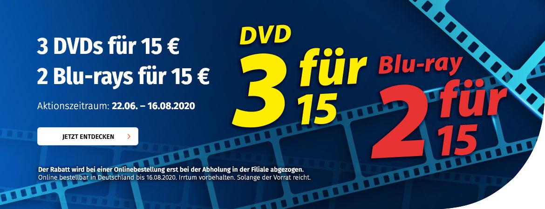 3 DVDs oder 2 Blu-rays für 15 €