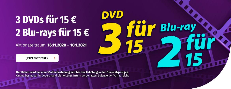 3 DVDs oder 2 Blu-rays für 15€