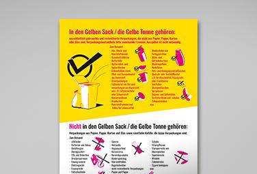 Trenntabelle Gelber Sacke/Gelbe Tonne