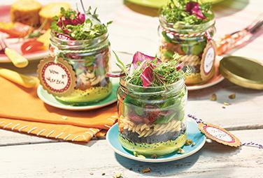 Ensalada de pasta-lentejas-curri