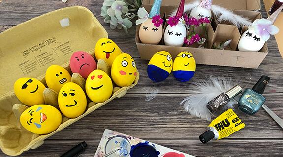 Eier färben - Emojis, Einhörner & Minions