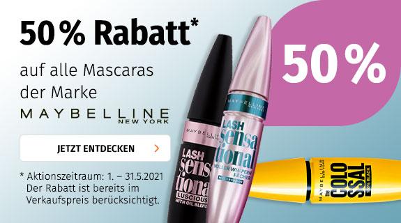 50% auf Maybelline Mascara