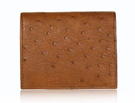 Straußenleder Portemonnaie Damen beige/cognac matt klein