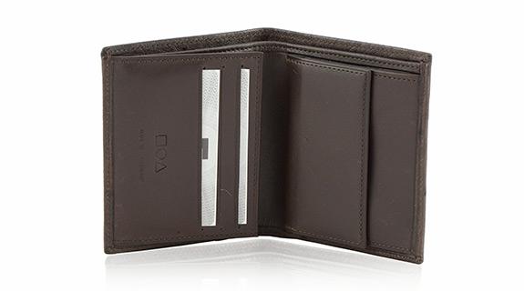Straußenleder Portemonnaie Damen braun matt klein