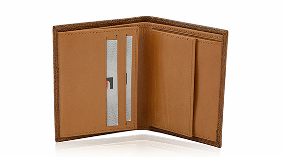 Straußenleder Portemonnaie Damen beige/cognac glänzend klein