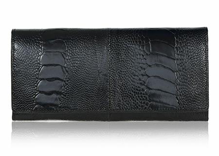 Straußenleder Portemonnaie Damen schwarz glänzend groß