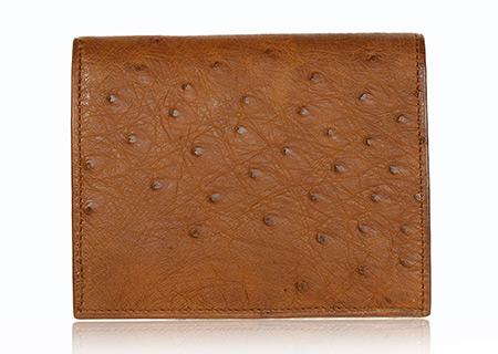 Straußenleder Portemonnaie beige/cognac matt klein