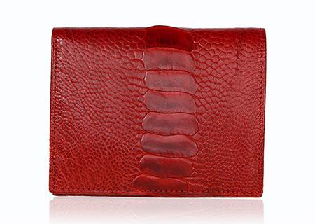 Straußenleder Portemonnaie Damen rot glänzend klein