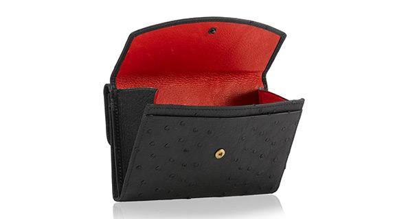 Straußenleder Portemonnaie Damen schwarz matt groß