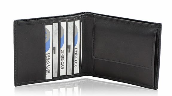 Straußenleder Portemonnaie Herren schwarz glänzend klein
