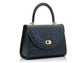 Straußenleder Handtasche blau matt
