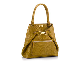 Straußenleder Handtasche gold matt