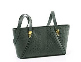 Straußenleder Handtasche grün