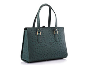 Straußenleder Handtasche grün matt