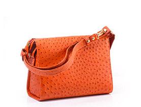 Straußenleder Handtasche orange