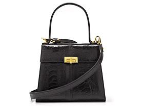 Straußenleder Handtasche schwarz