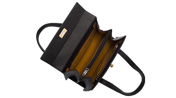 Straußenleder Handtasche schwarz matt