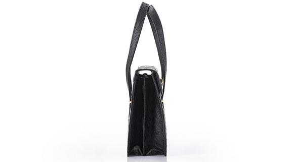 Straußenleder Handtasche Damen schwarz
