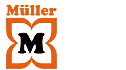 A Müller felirat a virág felett